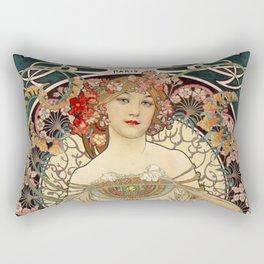 F. Champenois Alphonse Mucha - printer lithographer - peasant woman - neoclassical gown Egyptian - floral motifs hair - Ad Wall Decor Print Rectangular Pillow