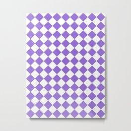 Diamonds - White and Dark Pastel Purple Metal Print