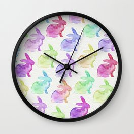 Watercolor Bunnies 1A by Kathy Morton Stanion Wall Clock