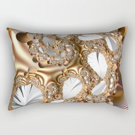 Silver leaves on golden glow -- A fractal landscape Rectangular Pillow