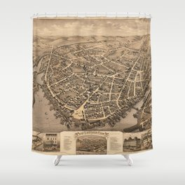 Vintage Pictorial Map of New London CT (1876) Shower Curtain
