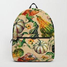 Vintage orange yellow green watercolor pumpkin floral Backpack