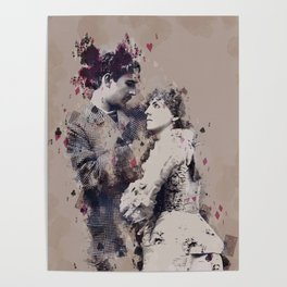 Vintage Lovely Couple Abstract Poker Papers Art Painting. Poster