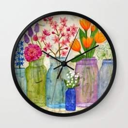 Springs Flowers in Old Jars Wall Clock