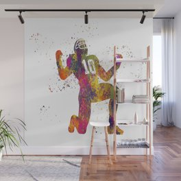 American football player in watercolor 13 Wall Mural