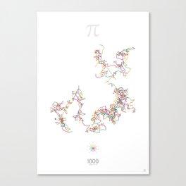 The Art in Pi - 1000 digits walk Canvas Print