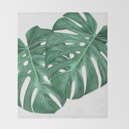 Monstera Tropical Leaf Painting Throw Blanket