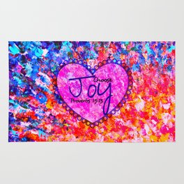 CHOOSE JOY Christian Art Abstract Painting Typography Happy Colorful Splash Heart Proverbs Scripture Rug