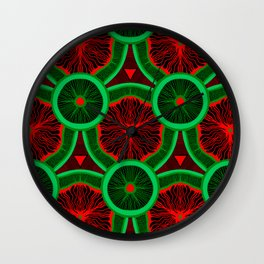 red and greenery kivi pattern Wall Clock