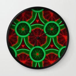 red and greenery kivi pattern Wall Clock
