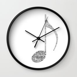 Typography music note Wall Clock