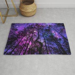 Black Trees Purple Fuchsia Blue space Rug
