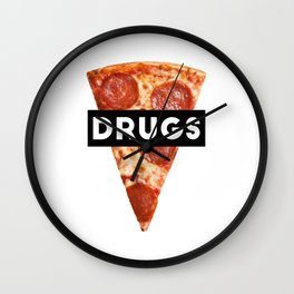 Drugs = Pizza Wall Clock