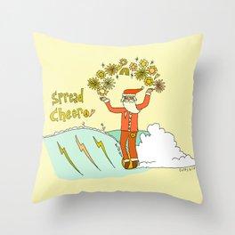 surfing santa spreads cheer retro art by surfy birdy Throw Pillow