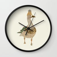kpop Wall Clocks featuring goose by bri.buckley