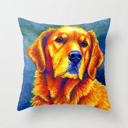 Faithful Friend - Colorful Golden Retriever Throw Pillow