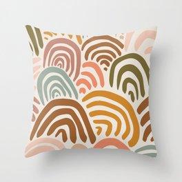 Rainbow Dreams | Vintage on Sand | Abstract Rainbow Wall Art Throw Pillow