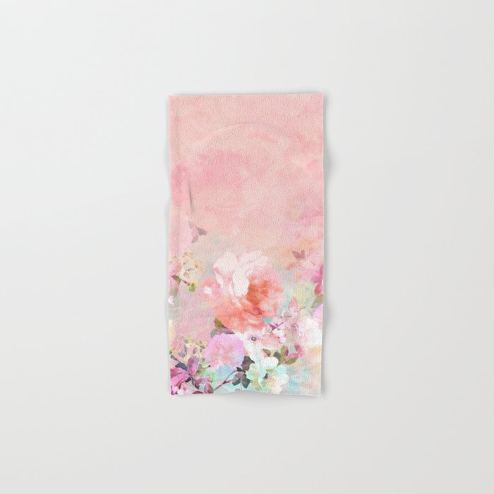 Modern blush watercolor ombre floral watercolor pattern Hand & Bath Towel
