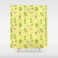 digimon Shower Curtains featuring Leafmon and Roses by Kiriska
