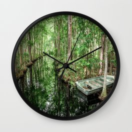 Swamp Boat Wall Clock
