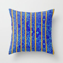 blue flower with stripes Throw Pillow