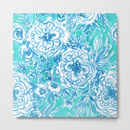 WATER DANCE Aqua Watercolor Floral Metal Print