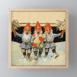 """Caroling Gnomes"" by Jenny Nystrom Framed Mini Art Print"