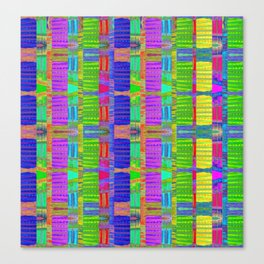 African Modern Abstract Grass Vibrant Mud Cloth Neo Tribal Canvas Print