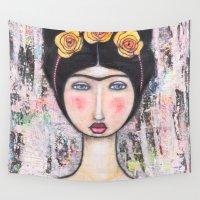 tina crespo Wall Tapestries featuring La-Tina by Natalie Briney