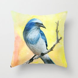 Scrub Jay Throw Pillow
