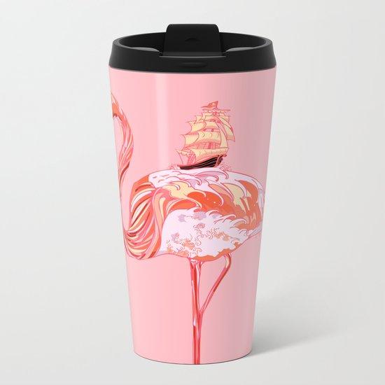 Flamingo & Sea Metal Travel Mug