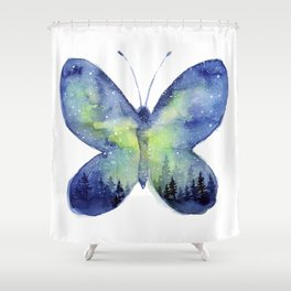 Space Butterfly - Blue Green Shower Curtain