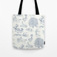 lotr Tote Bags featuring Shire Toile by Jackie Sullivan