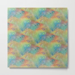 Rainbow Sparkles Leaves Flowers Metal Print