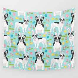 French Bulldog easter spring dog breed gifts pure breed frenchies black and white coat Wall Tapestry