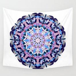 blue grey white pink purple mandala Wall Tapestry