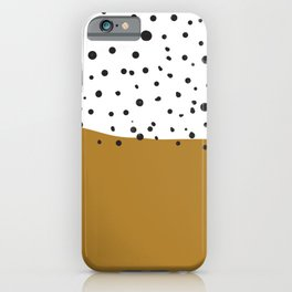 Stamped spots in black and white and gold iPhone Case