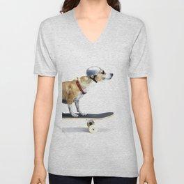 Skate Punk - Skateboarding Chihuahua Dog inTiny Helmet Unisex V-Neck