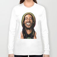 marley Long Sleeve T-shirts featuring Celebrity Sunday - Robert Nesta Marley by rob art | illustration