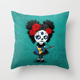 Day of the Dead Girl Playing Barbados Flag Guitar Throw Pillow