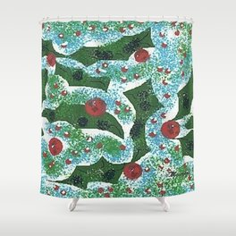 """ Holly Berry Pattern "" Shower Curtain"