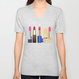 my lipstick collection Unisex V-Neck