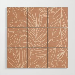 Engraved Tropical Line Wood Wall Art
