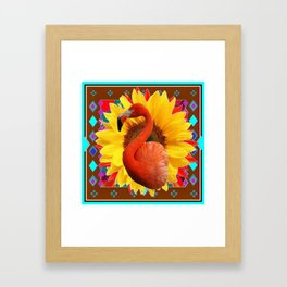 COFFEE BROWN SUNFLOWERS ART DECO SAFFRON FLAMINGOS ART Framed Art Print