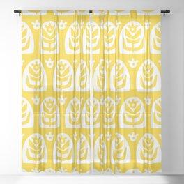Mid Century Modern Sunflower Yellow Sheer Curtain
