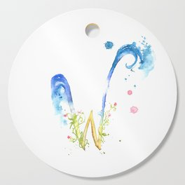 Letter W watercolor - Watercolor Monogram - Watercolor typography - Floral lettering Cutting Board
