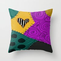 nightmare before christmas Throw Pillows featuring Sally - Nightmare Before Christmas by Lea Bostwick