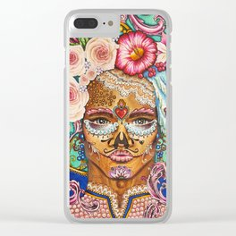 Baroque rococo day of the dead portrait with roses and laces Clear iPhone Case