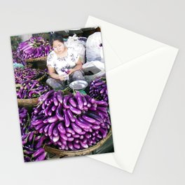 Eggplant Vendor, Myanmar Stationery Cards