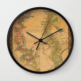 Map of Mississippi River 1858 Wall Clock